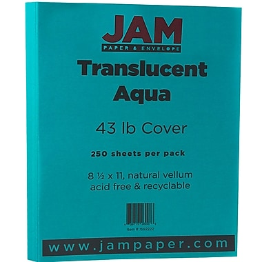 Jam PaperMD – Papier couverture translucide, 8 1/2 x 11 po, turquoise, 250 feuilles/rame