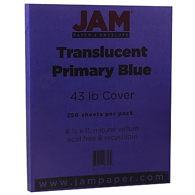 JAM PaperMD – Couverture en papier couleur Chartham translucide, 8 1/2 x 11 po, bleu primaire, 250/paquet