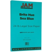 "JAM Paper® 8 1/2"" x 14"" Legal Size Paper, Sea Blue 24lb Recycled Brite Hue, 500/Ream (16728245B)"