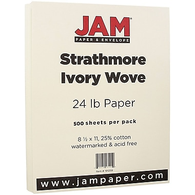 JAM Paper® Strathmore Paper, 8.5 x 11, 24lb Ivory Wove, 500/Pack (191259B)