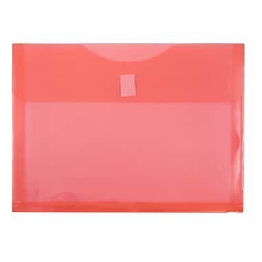 JAM Paper® Plastic Envelopes with VELCRO® Brand Closure, 1 Expansion, Letter Booklet, 9.75 x 13, Red Poly, 12/pack (218V1RE)
