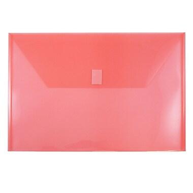 JAM PaperMD – Enveloppes plastiques avec fermeture VELCROMD, livret légal, 9,75 x 14,5 po, poly rouge, 12/paquet