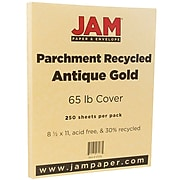 JAM Paper® Parchment 65lb Cardstock, 8.5 x 11 Coverstock, Antique Gold Recycled, 250 Sheets/Ream (27179B)