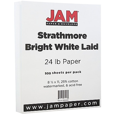 Jam PaperMD – Papier vergé Strathmore, 8 1/2 x 11 po, blanc brillant, 500/rame