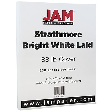 JAM Paper® Strathmore Cardstock, 8.5 x 11, 88lb Bright White Laid, 250/Pack (301005B)