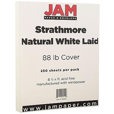JAM PaperMD – Papier couverture cartonné Strathmore fini vergé, 8 1/2 x 11 po, blanc naturel, 250 feuilles/rame