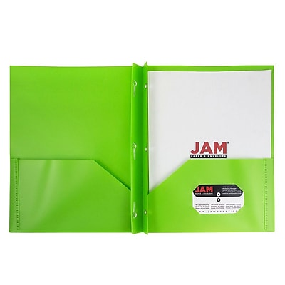 JAM Paper® Plastic Eco Two Pocket Clasp School Folders with Prong Clip Fasteners, Lime Green, 96/pack (382ECLIGRD)