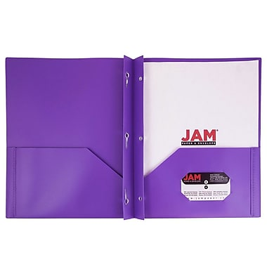JAM Paper® Plastic Eco Two Pocket Clasp School Folders with Prong Clip Fasteners, Purple, 6/pack (382ECPUU)