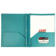 JAM Paper® Plastic Eco Two Pocket Clasp School Folders with Prong Clip Fasteners, Teal Blue, 6/pack (382ECTEU)