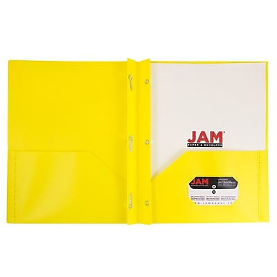 JAM Paper® Plastic 2 Pocket Pop School Folders with Metal Prong Fastener Clasps, Yellow, 96/pack