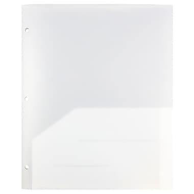JAM Paper® Plastic Heavy Duty 3 Hole Punched 2 Pocket School Folders, Clear,108/pack (383HHPCLA)