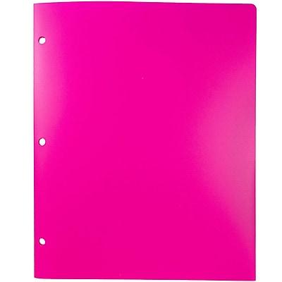 JAM Paper® Plastic Heavy Duty 3 Hole Punched 2 Pocket School Folders, Fuchsia Pink, 6/pack (383HHPFUB)