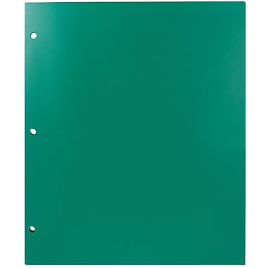 JAM Paper® Plastic Heavy Duty 3 Hole Punched 2 Pocket School Folders, Green, 6/pack (383HHPGRB)