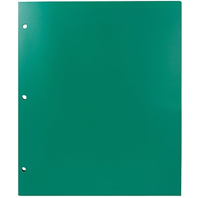 JAM Paper® Plastic Heavy Duty 3 Hole Punched 2 Pocket School Folders, Green, 108/pack (383HHPGRA)