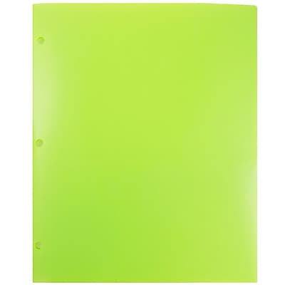 JAM Paper® Plastic Heavy Duty 3 Hole Punched 2 Pocket School Folders, Lime Green, 6/pack (383HHPLID)