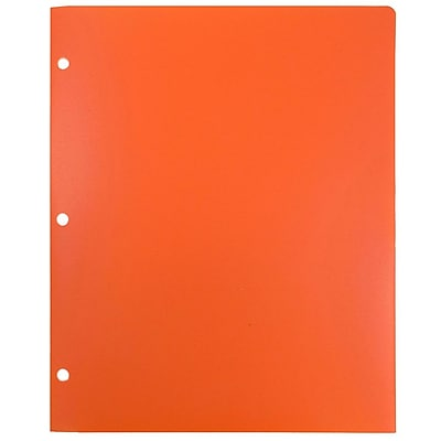 JAM Paper® Plastic Heavy Duty 3 Hole Punched 2 Pocket School Folders, Orange, 108/pack (383HHPORA)