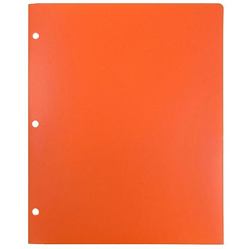 JAM Paper® Heavy Duty Plastic 3 Hole Punch Two-Pocket School Folders, Orange, 108/Pack (383HHPORA)