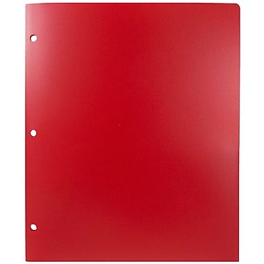 JAM Paper® Plastic Heavy Duty 3 Hole Punched 2 Pocket School Folders, Red, 6/pack (383HHPREB)