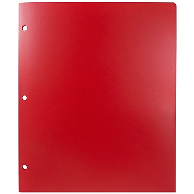 JAM Paper® Plastic Heavy Duty 3 Hole Punched 2 Pocket School Folders, Red, 108/pack (383HHPREA)