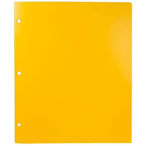 JAM Paper® Heavy Duty Plastic 3 Hole Punch Two-Pocket School Folders, Yellow, 108/Pack (383HHPYEA)