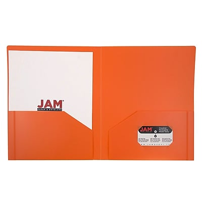 JAM Paper® Plastic Heavy Duty Two Pocket Folders, Orange, 6/pack (383HORD)