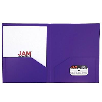 JAM Paper® Plastic Heavy Duty Two Pocket Folders, Purple, 6/pack (383NPURPLED)