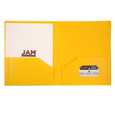 JAM Paper® Plastic Heavy Duty Two Pocket Folders, Yellow, 6/pack (383HYED)