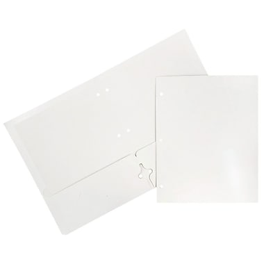 JAM Paper® Glossy 2 Pocket 3 Hole Punched Folders, White, 6/pack (385GHPWHA)