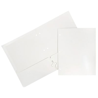 JAM Paper® Glossy 2 Pocket 3 Hole Punched Folders, White, 50/box (385GHPWHC)