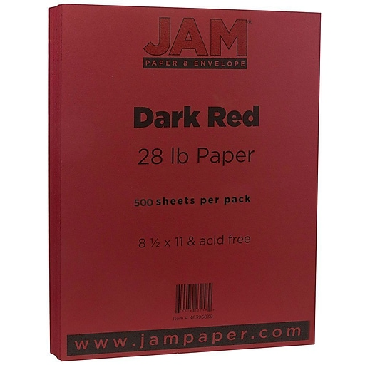 JAM Paper® Matte 28lb Paper, 8.5 x 11, Dark Red, 500 Sheets/Ream (46395839B)