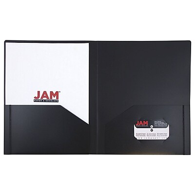 JAM Paper® Plastic Heavy Duty Two Pocket Folders, Black, 6/pack (57406D)
