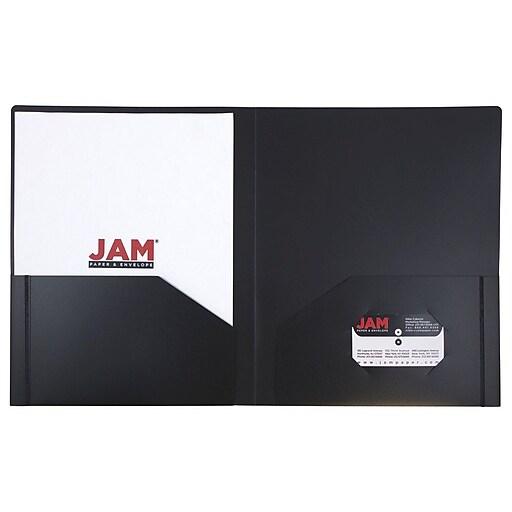 JAM Paper® Heavy Duty Plastic Two-Pocket School Folders, Black, 108/Pack (57406B)