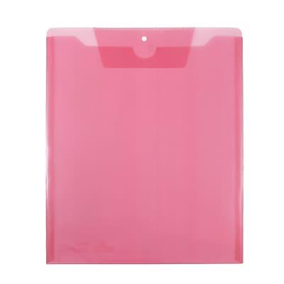 JAM Paper® Plastic Job Envelopes with Tuck Flap Closure, Letter Open End, 9.5 x 11.5, Pink, 12/Pack (86730PI)