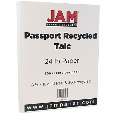 JAM Paper® Recycled Paper, 8.5 x 11, 24lb Talc White, 500/Pack (872402B)