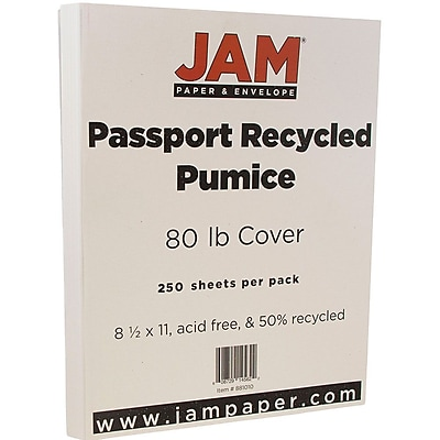 JAM Paper® Recycled Cardstock, 8.5 x 11, 80lb Pumice White, 250/box (881010B)