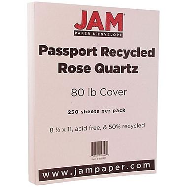 JAM Paper® Recycled Cardstock, 8.5 x 11, 80 lb Passport Rose Quartz Pink, 250/Box (881310B)