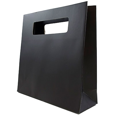 JAM Paper® Die Cut Gift Bag, Small, 8 x 2.5 x 8, Black, Sold individually (898DCBL)