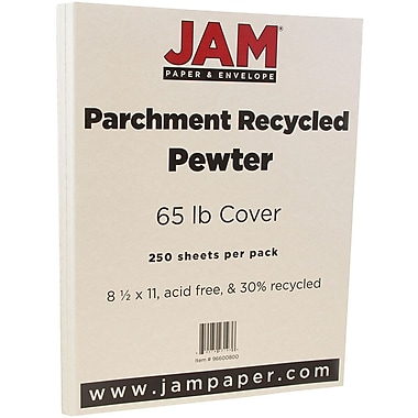 JAM Paper® Parchment Cardstock, 8.5 x 11, 65lb Pewter Recycled, 250/Pack (96600800B)