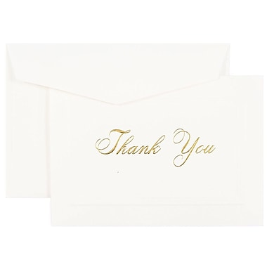 JAM Paper® Thank You Cards Set, Bright White Gold Script, 104 Note Cards with 100 Envelopes (BW98000)