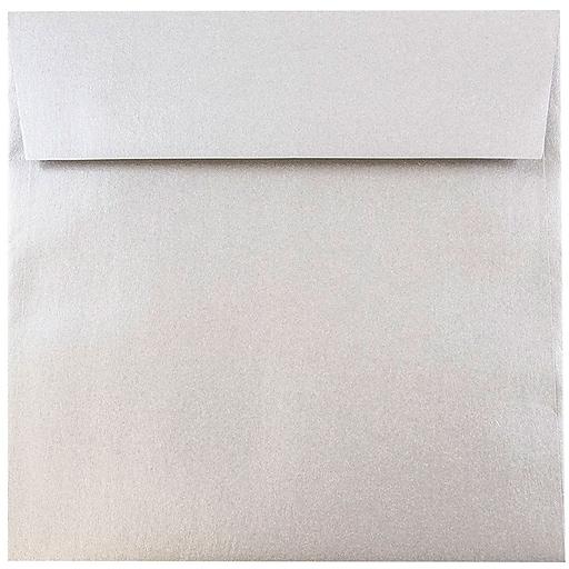 JAM Paper® 6.5 x 6.5 Square Metallic Invitation Envelopes, Stardream Silver, 25/Pack (GCST509)