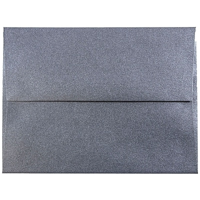 JAM Paper® A2 Invitation Envelopes, 4 3/8 x 5 3/4, Stardream Metallic Anthracite Black, 25/pack (GCST606)