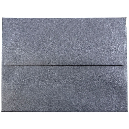 JAM Paper® A2 Metallic Invitation Envelopes, 4.375 x 5.75, Stardream Anthracite Black, Bulk 250/Box (GCST606H)