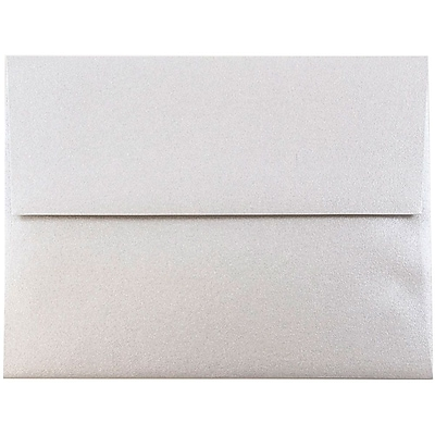 JAM Paper® A2 Invitation Envelopes, 4 3/8 x 5 3/4, Stardream Metallic Silver, 250/box (GCST609H)