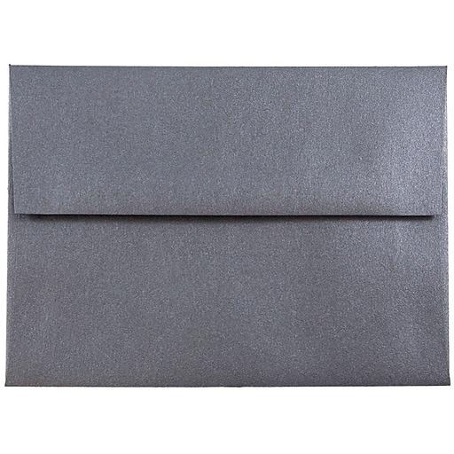 JAM Paper® A6 Metallic Invitation Envelopes, 4.75 x 6.5, Stardream Anthracite Black, Bulk 250/Box (GCST656H)