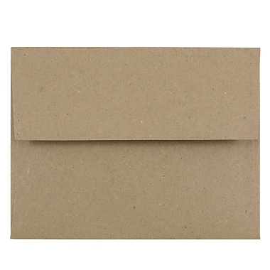 JAM Paper® A2 Invitation Envelopes, 4 3/8 x 5 3/4, Brown Kraft Paper Bag Recycled , 25/pack (LEKR600)