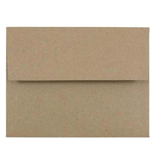 JAM Paper® A2 Invitation Envelopes, 4.375 x 5.75, Brown Kraft Paper Bag, Bulk 250/Box (LEKR600H)