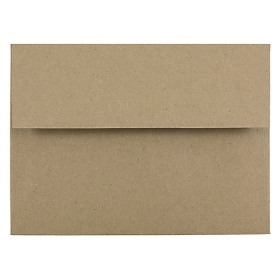 JAM Paper® A6 Invitation Envelopes, 4.75 x 6.5, Brown Kraft Paper Bag Recycled, 50/pack (LEKR650I)