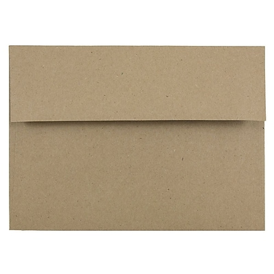 JAM Paper® A7 Invitation Envelopes, 5.25 x 7.25, Brown Kraft Paper Bag Recycled, 25/pack (LEKR700)