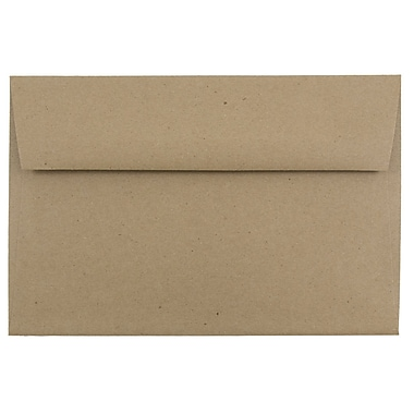 JAM Paper® A9 Invitation Envelopes, 5.75 x 8.75, Brown Kraft Paper Bag Recycled, 25/pack (LEKR875)