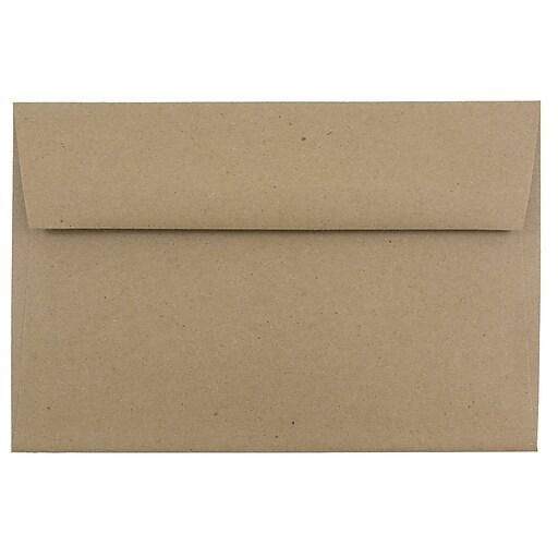 JAM Paper® A9 Invitation Envelopes, 5.75 x 8.75, Brown Kraft Paper Bag, 50/Pack (LEKR875I)